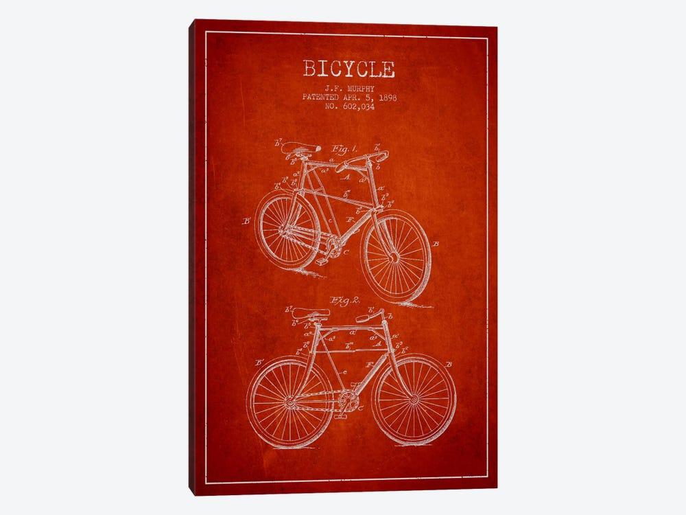 Bike Red Patent Blueprint by Aged Pixel 1-piece Canvas Art Print