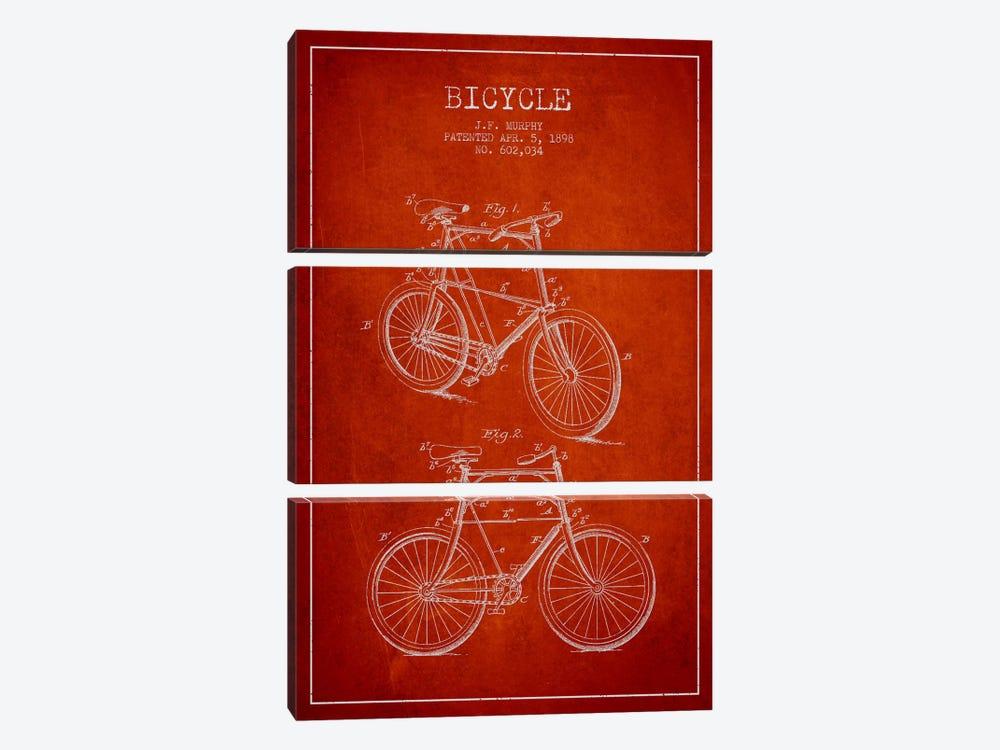 Bike Red Patent Blueprint by Aged Pixel 3-piece Canvas Art Print