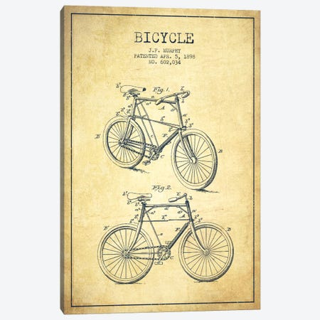 Bike Vintage Patent Blueprint Canvas Print #ADP2539} by Aged Pixel Canvas Art