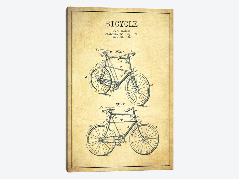 Bike Vintage Patent Blueprint by Aged Pixel 1-piece Canvas Artwork