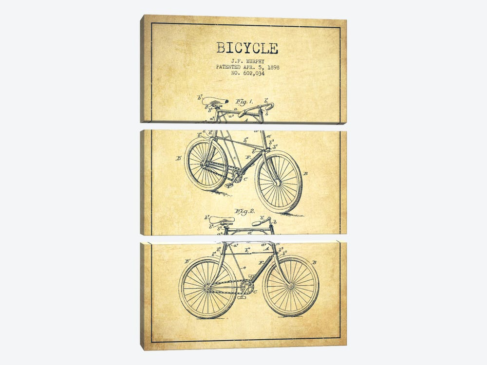 Bike Vintage Patent Blueprint by Aged Pixel 3-piece Canvas Wall Art