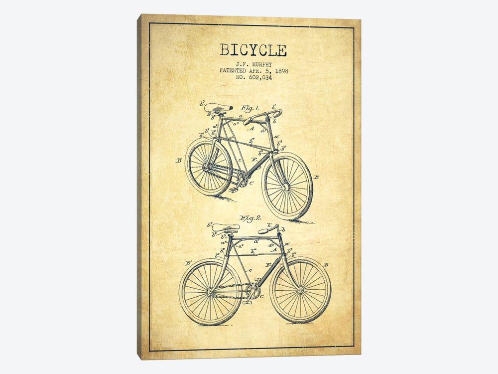 Bike Vintage Patent Blueprint by Aged Pixel 1-piece Canvas Artwork