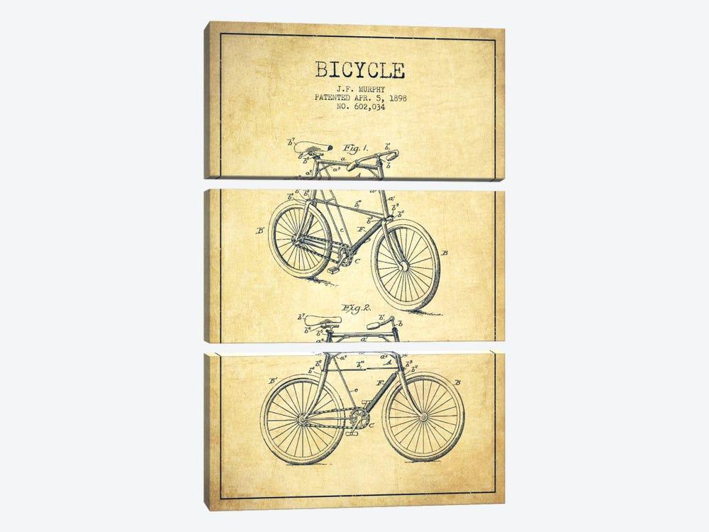 Bike Vintage Patent Blueprint by Aged Pixel 3-piece Canvas Wall Art
