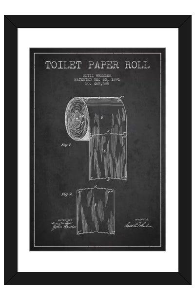 Toilet Paper Charcoal Patent Blueprint Framed Art Print