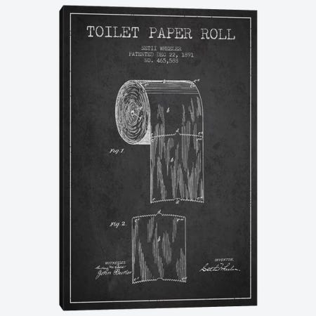 Toilet Paper Charcoal Patent Blueprint Canvas Print #ADP253} by Aged Pixel Canvas Art