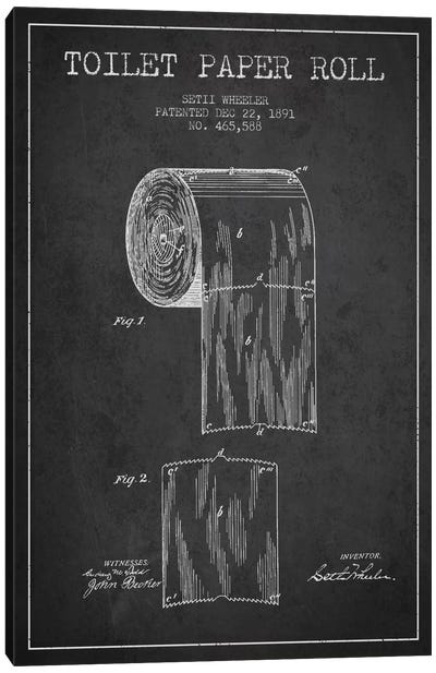 Toilet Paper Charcoal Patent Blueprint Canvas Art Print