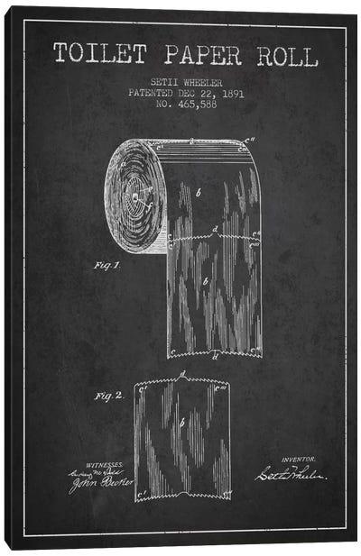 Toilet Paper Charcoal Patent Blueprint Canvas Art Print