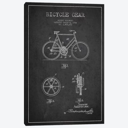 Bike Charcoal Patent Blueprint Canvas Print #ADP2540} by Aged Pixel Canvas Art Print