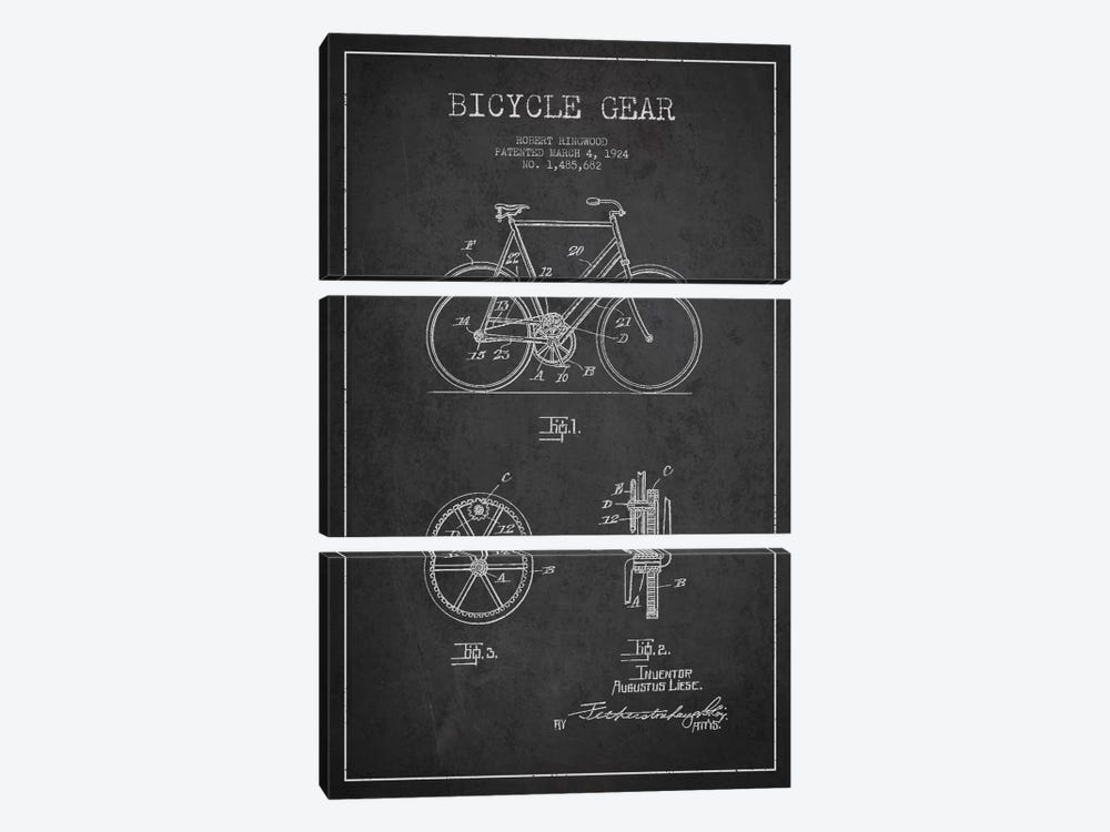 Bike Charcoal Patent Blueprint by Aged Pixel 3-piece Canvas Artwork