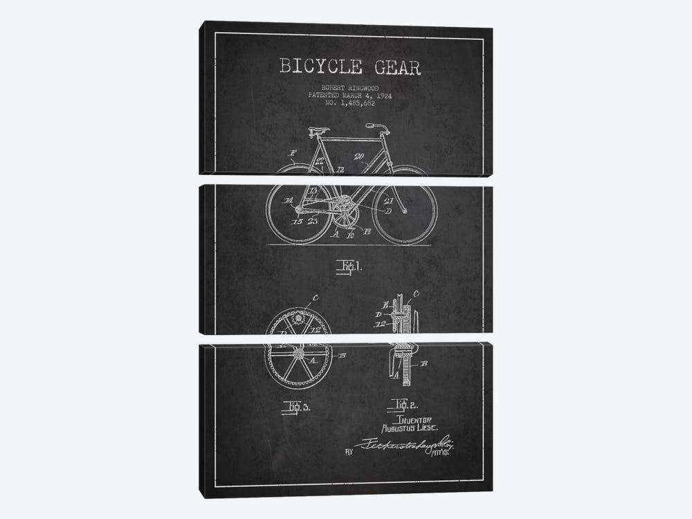 Bike Charcoal Patent Blueprint by Aged Pixel 3-piece Canvas Artwork