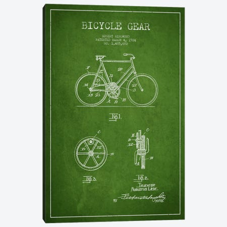 Bike Green Patent Blueprint Canvas Print #ADP2541} by Aged Pixel Canvas Art Print