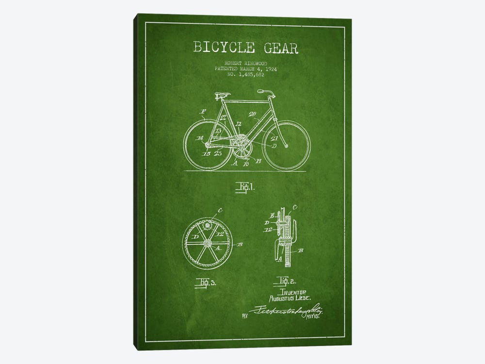 Bike Green Patent Blueprint by Aged Pixel 1-piece Art Print