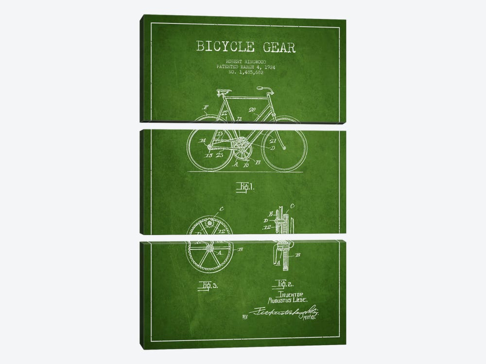 Bike Green Patent Blueprint 3-piece Canvas Print