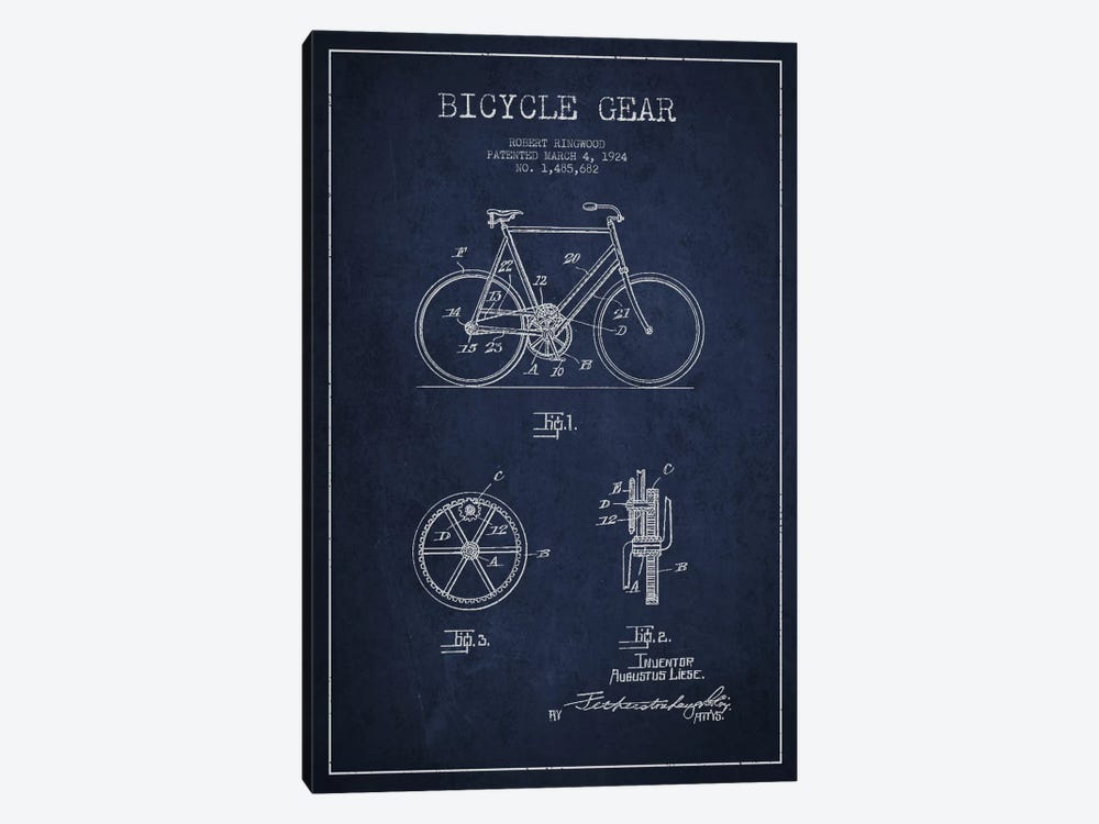 Bike Navy Blue Patent Blueprint by Aged Pixel 1-piece Canvas Wall Art