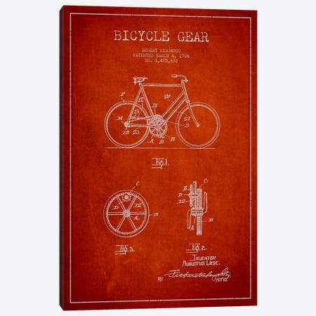 Bike Red Patent Blueprint Canvas Print #ADP2543} by Aged Pixel Art Print