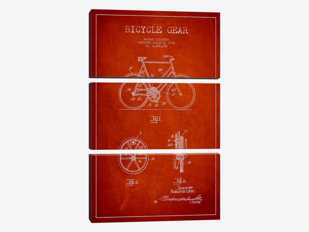 Bike Red Patent Blueprint by Aged Pixel 3-piece Canvas Print
