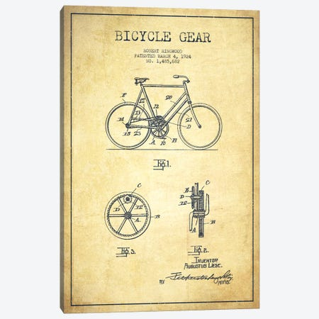 Bike Vintage Patent Blueprint Canvas Print #ADP2544} by Aged Pixel Canvas Artwork