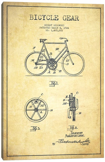 Bike Vintage Patent Blueprint Canvas Print #ADP2544