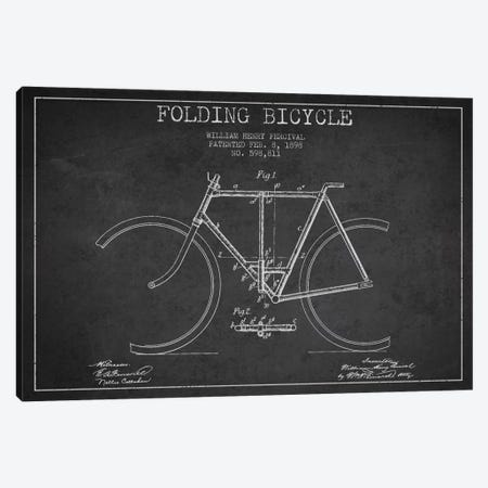 Bike Charcoal Patent Blueprint Canvas Print #ADP2545} by Aged Pixel Canvas Wall Art
