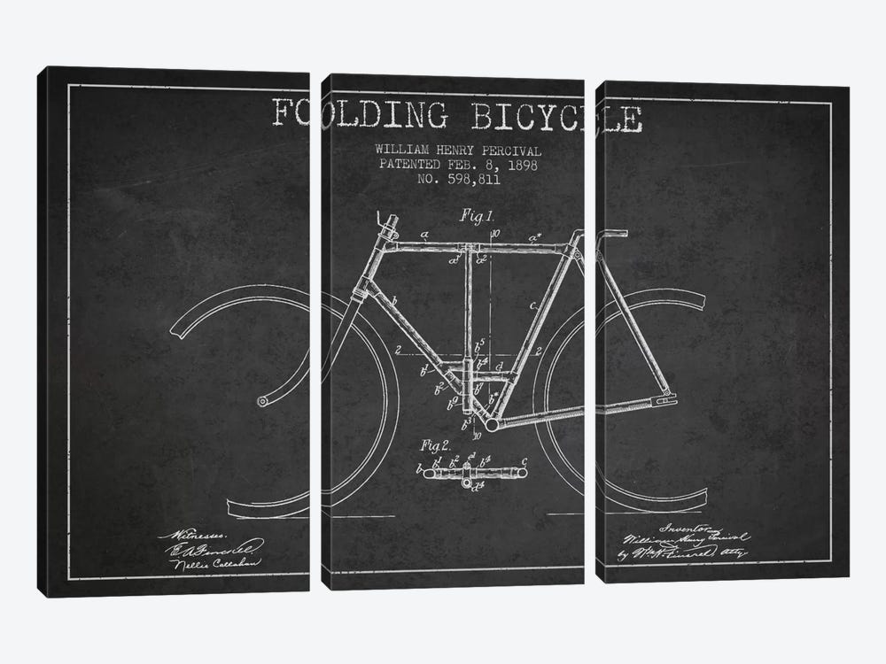 Bike Charcoal Patent Blueprint by Aged Pixel 3-piece Art Print