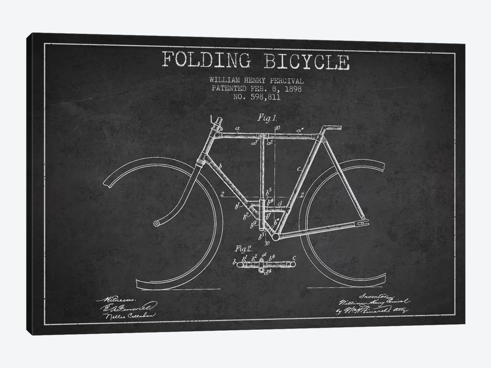 Bike Charcoal Patent Blueprint by Aged Pixel 1-piece Art Print