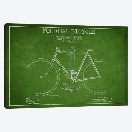 Bike Green Patent Blueprint Canvas Print #ADP2546} by Aged Pixel Canvas Art