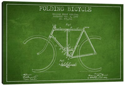 Bike Green Patent Blueprint Canvas Art Print