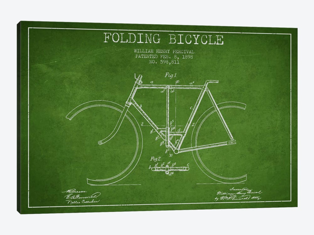 Bike Green Patent Blueprint 1-piece Canvas Wall Art