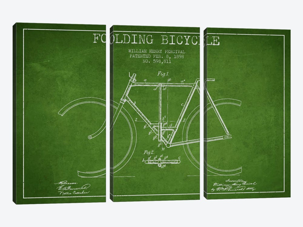 Bike Green Patent Blueprint by Aged Pixel 3-piece Canvas Art