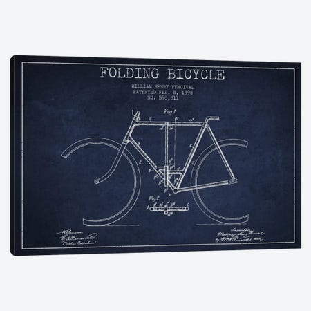 Bike Navy Blue Patent Blueprint Canvas Print #ADP2547} by Aged Pixel Canvas Art