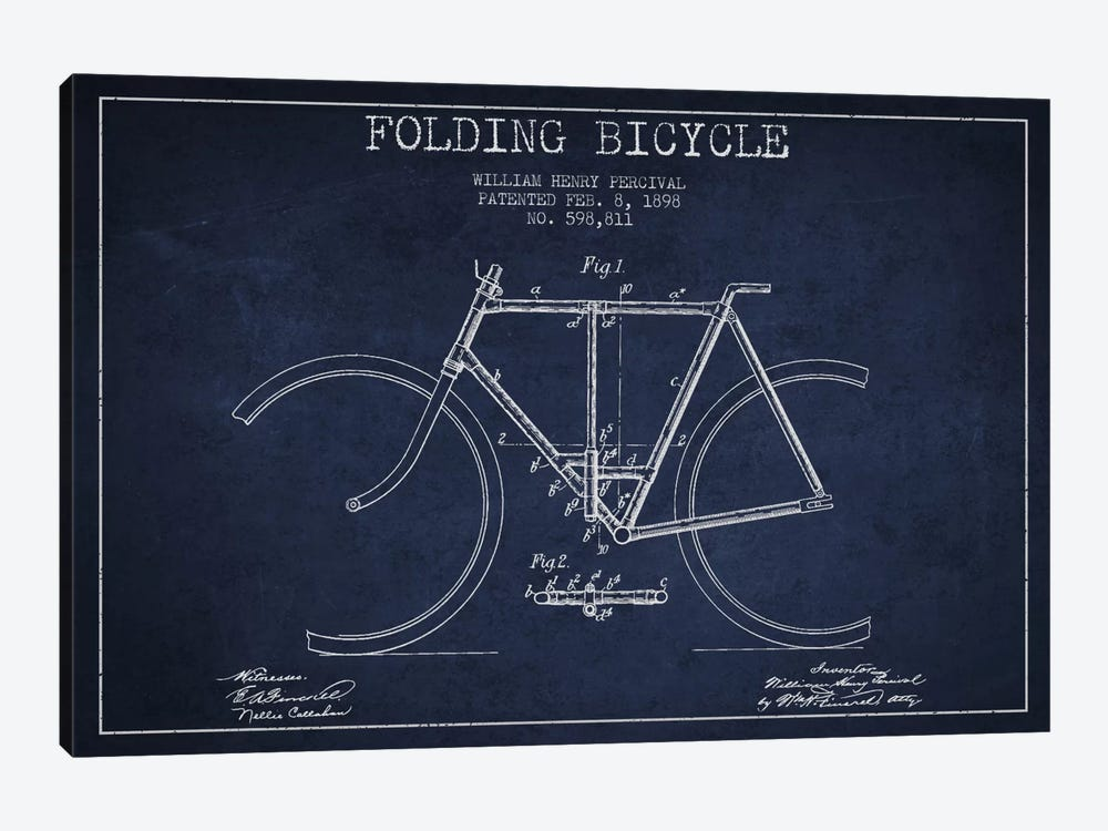 Bike Navy Blue Patent Blueprint by Aged Pixel 1-piece Art Print