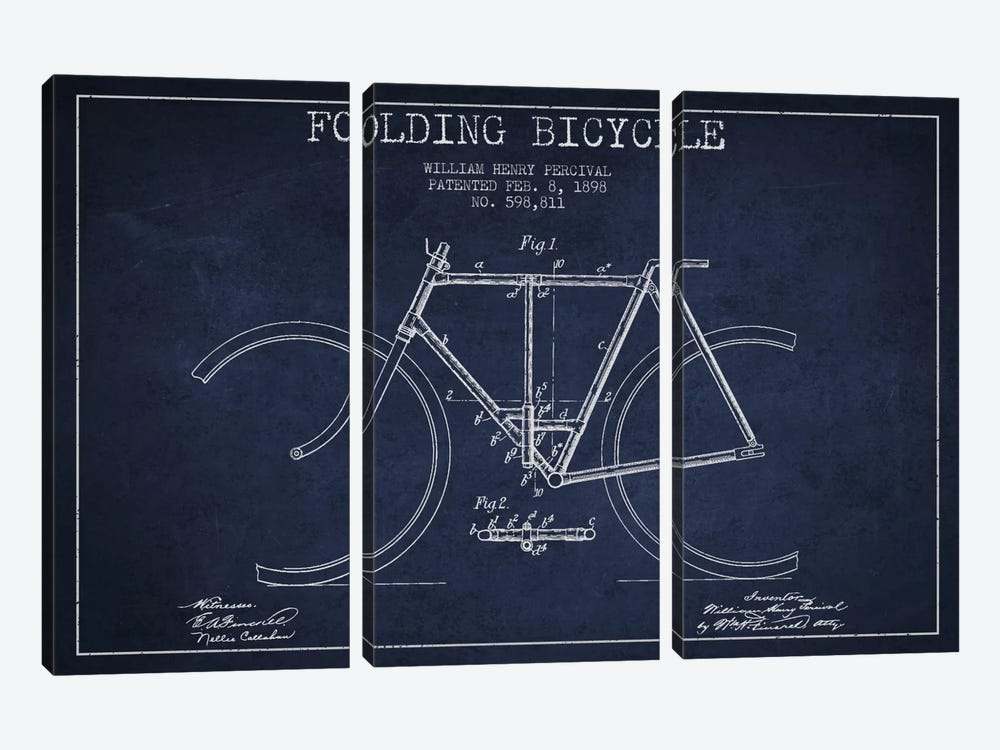 Bike Navy Blue Patent Blueprint by Aged Pixel 3-piece Canvas Print