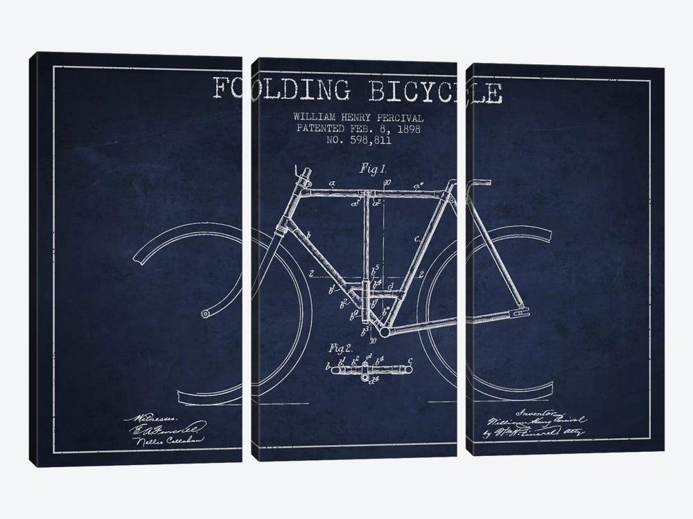 Bike Navy Blue Patent Blueprint by Aged Pixel 3-piece Canvas Print