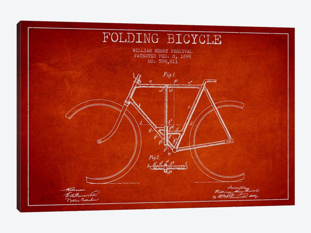 Bike Red Patent Blueprint 1-piece Canvas Artwork