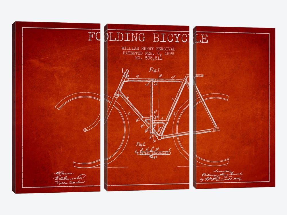 Bike Red Patent Blueprint by Aged Pixel 3-piece Canvas Art