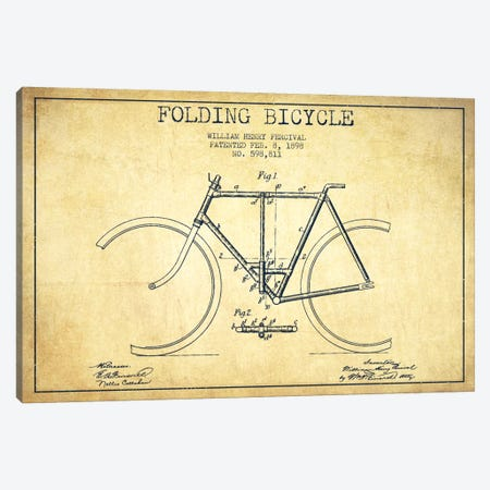 Bike Vintage Patent Blueprint Canvas Print #ADP2549} by Aged Pixel Canvas Art Print