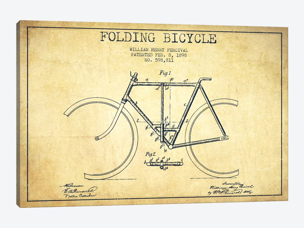 Bike Vintage Patent Blueprint by Aged Pixel 1-piece Canvas Art Print