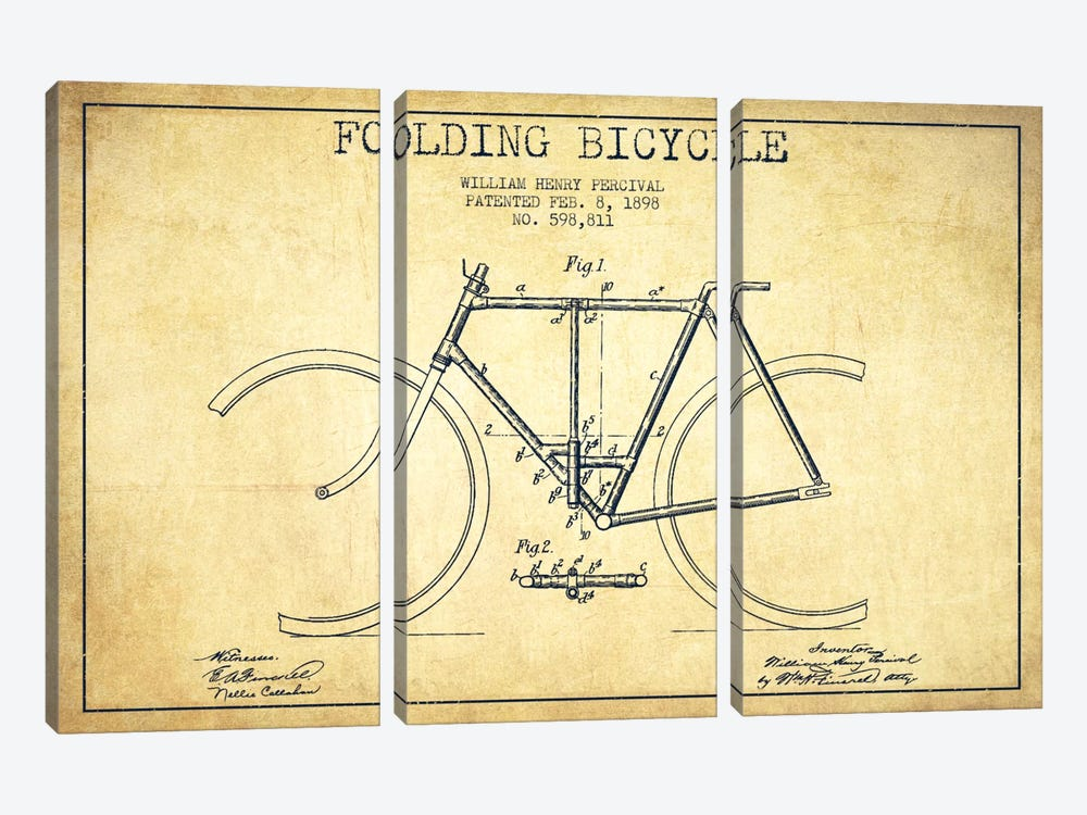 Bike Vintage Patent Blueprint by Aged Pixel 3-piece Canvas Art Print