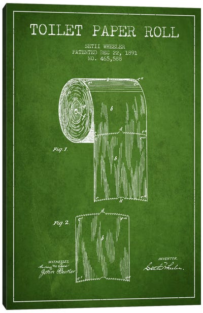 Toilet Paper Green Patent Blueprint Canvas Art Print