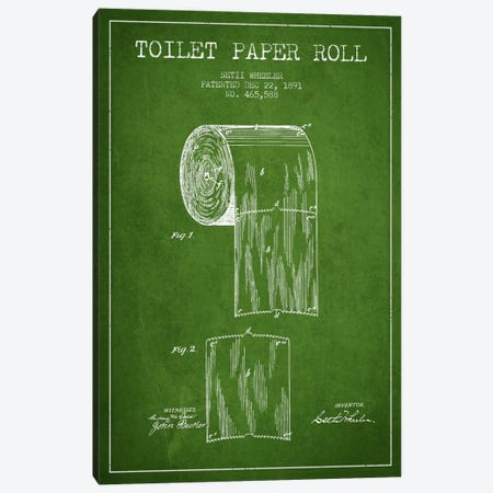 Toilet Paper Green Patent Blueprint Canvas Print #ADP254} by Aged Pixel Canvas Print