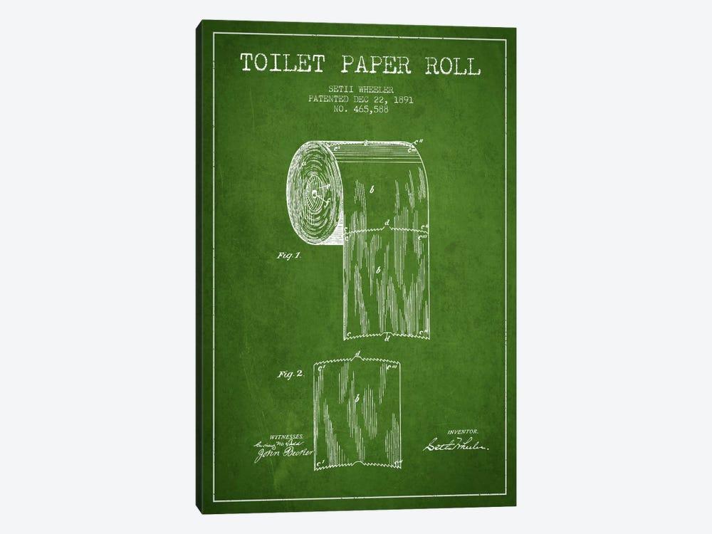 Toilet Paper Green Patent Blueprint by Aged Pixel 1-piece Canvas Art Print