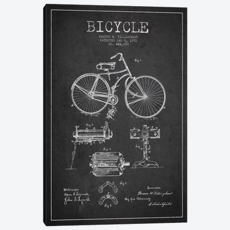 Bike Charcoal Patent Blueprint Canvas Print #ADP2550} by Aged Pixel Canvas Artwork