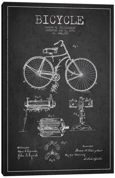 Bike Charcoal Patent Blueprint Canvas Print #ADP2550