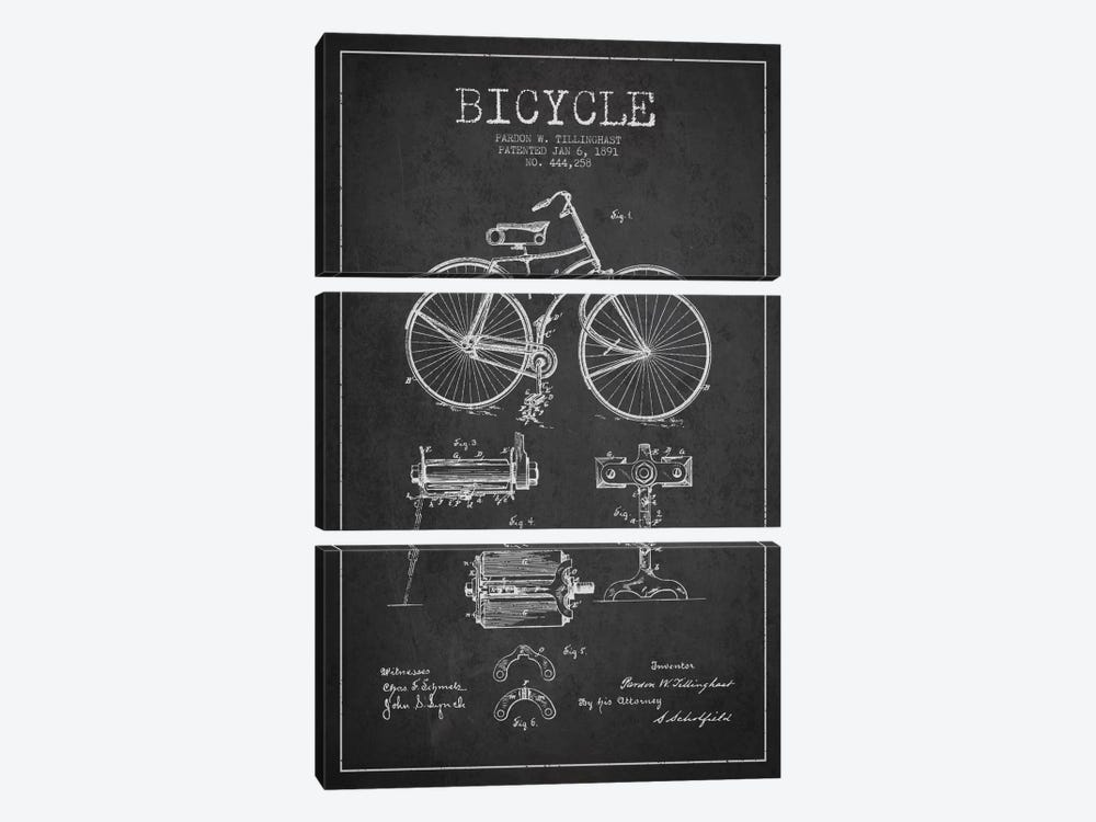 Bike Charcoal Patent Blueprint by Aged Pixel 3-piece Canvas Art Print