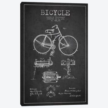 Bike Charcoal Patent Blueprint Canvas Print #ADP2550} by Aged Pixel Canvas Artwork