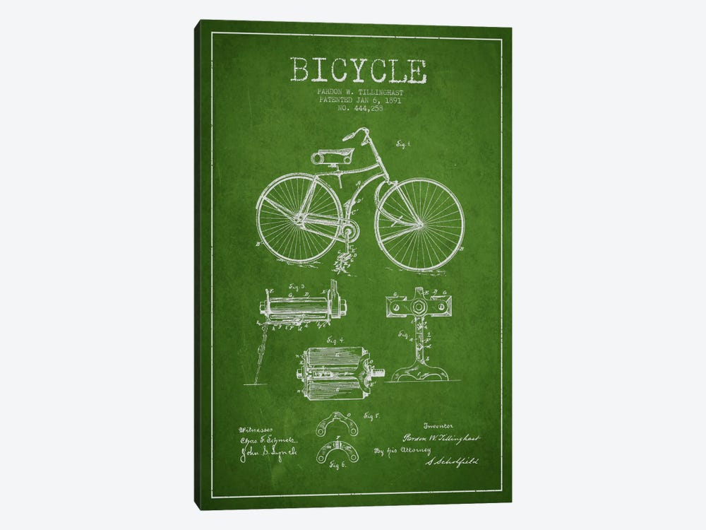 Bike Green Patent Blueprint by Aged Pixel 1-piece Canvas Artwork
