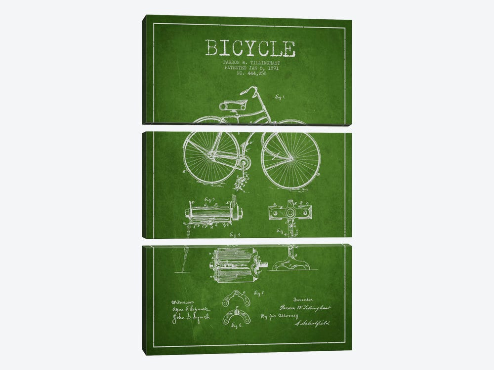 Bike Green Patent Blueprint by Aged Pixel 3-piece Canvas Artwork