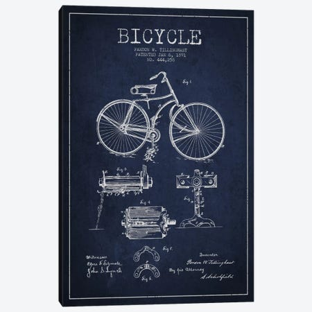 Bike Navy Blue Patent Blueprint Canvas Print #ADP2552} by Aged Pixel Canvas Wall Art