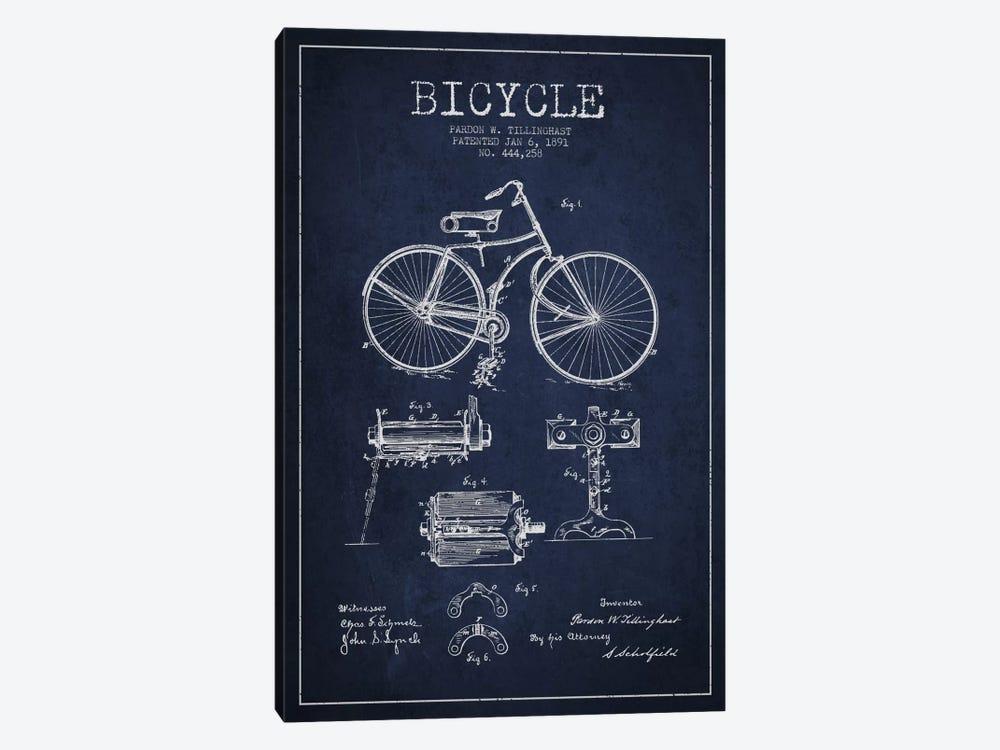 Bike Navy Blue Patent Blueprint by Aged Pixel 1-piece Art Print