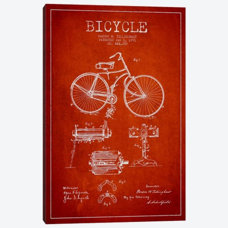 Bike Red Patent Blueprint Canvas Print #ADP2553} by Aged Pixel Canvas Art